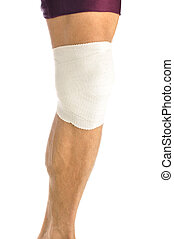 Knee support - Leg of male athlete wrapped in bandage