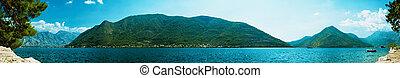 panorama of Boka Kotor bay near Perast, Montenegro