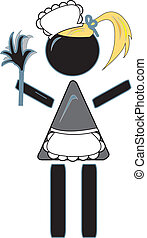 Maid - simple drawing of a maid figure with duster