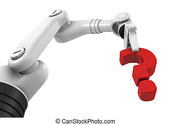 Robotic arm holding question mark on a white background