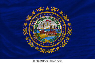 complete flag of us state of new hampshire covers whole frame, waved, crunched and very natural looking. It is perfect for background