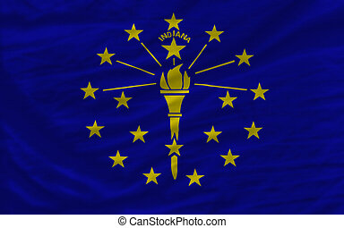 complete flag of us state of indiana covers whole frame, waved, crunched and very natural looking. It is perfect for background
