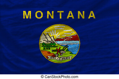 complete flag of us state of montana covers whole frame, waved, crunched and very natural looking. It is perfect for background