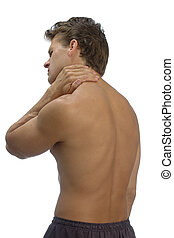 Muscle pain - Topless male athlete holding his neck in pain
