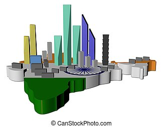 abstract skyscrapers on India map flag illustration