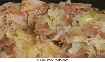 Stewed meat. - Pork stewed with onions.