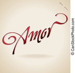 amor hand lettering vector - amor hand lettering - handmade...