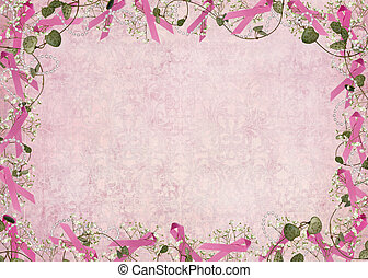 pink ribbon border - Breast cancer awareness ribbon border...