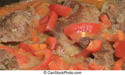 Stewed meat - Stewed meat with red pepper