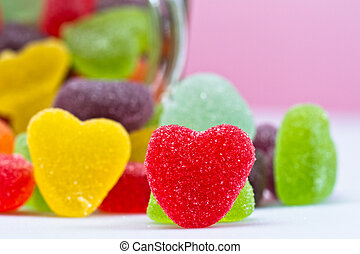 Close-up view of Love-Shaped Jelly - close up view of a...