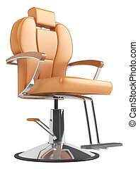 Orange hairdressing salon chair isolated on white background