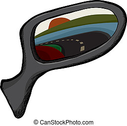 Side View Mirror - Side view mirror with reflection of back...