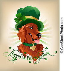 Irish Setter - Happy st. Patrickes Day background with Irish...