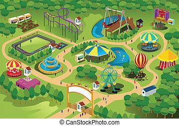 divertimento, parque, mapa