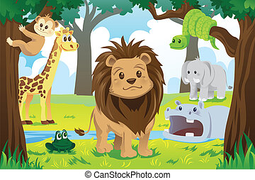 Animal kingdom - A vector illustration of wild jungle...