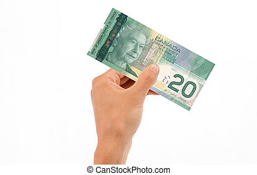 Hand Holding 20 Dollar Bill - Hand holding 20 Canadian...