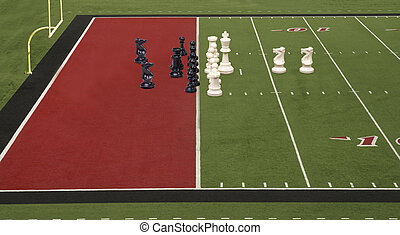 Chess Football Goal Line Red - Chess pieces lined up like...