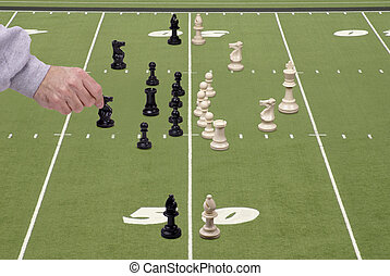 Chess Football with Defensive Coach - Chess pieces arranged...