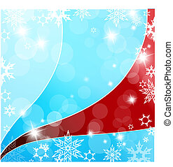 Christmas blue and red background with snow flakes.