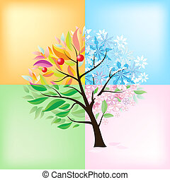 Four Seasons Tree Illustration on white background