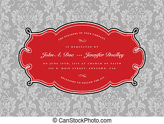 Vector Red Ornate Frame and Pattern