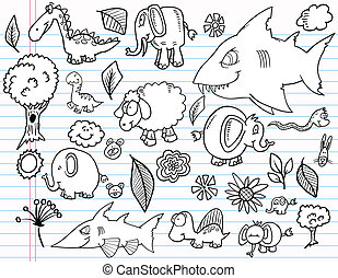 Notebook Doodle Animal vector set