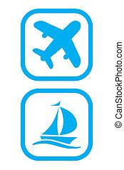 Plane and Ship Icons - Vector Illustration of Plane and Ship...