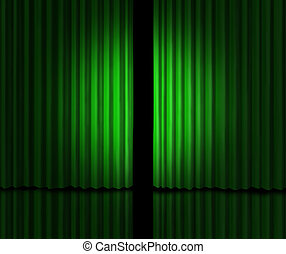 Big Green Announcement with greenish velvet curtains opened...