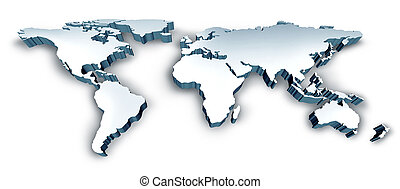 Dimensional 3D Wold Map with USA Europe Africa the Americas...