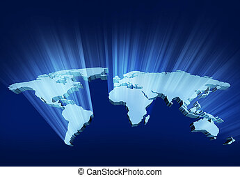 Glowing 3D Wold Map - Glowing and shining 3D Wold Map with...