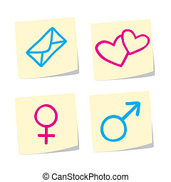 Icon Set - Vector Illustration of Love Icons on White...