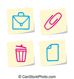 Icon Set - Vector Illustration of Office Icons on White...