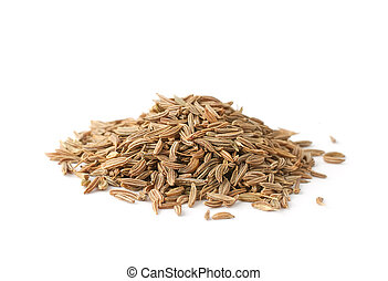 Cumin - Pile of cumin seeds isolated on white background