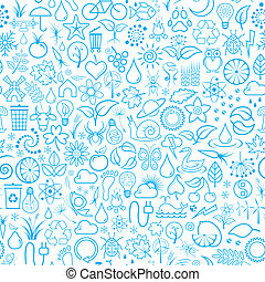 Seamless Background - Vector Illustration of Blue Seamless...