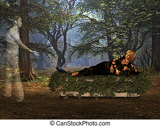 The tombstone in the woods. - The girl in the woods lying on...