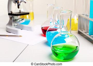 laborotary, Biologia, Química, ou, equipamento