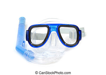 snorkelling equipment on white background