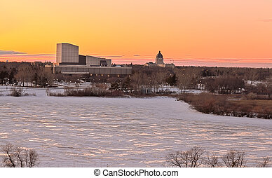 Wascana lake freezing - Wascana lake frozen on a cold...