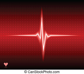 Ekg. - Red heart bear. Vector illustration.