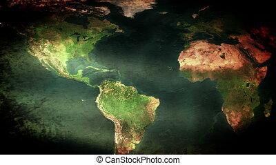 Earth Map Flag Waving, grunge look