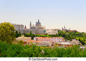 Madrid street view - Royal Palace of Madrid at sunny day at...