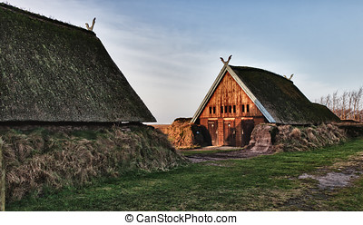 Traditional old Viking Age house hut in Bork village,...