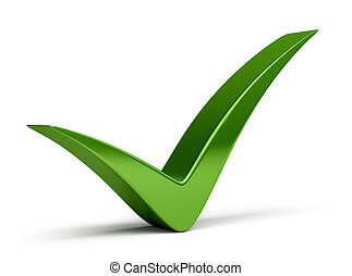 Check mark - Green check mark. 3d image. Isolated white...