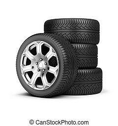 stack of wheels - Stack of wheels. 3d image. Isolated white...