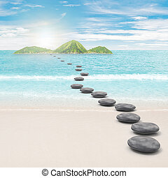 Pebble road to island. 3d and photo montage