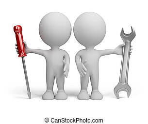 3d person - repairers - Two 3d person with the tools in the...