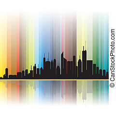 City silhouette showing bright colorful lines in the...