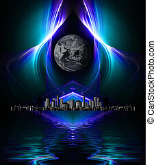 High res fractal design on black background reflected on...