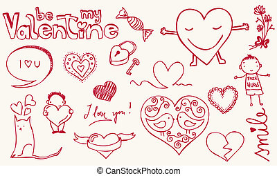 Love doodle - Colorful love related doodle for your...