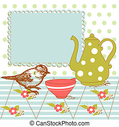 Bird and tea in the kitchen
